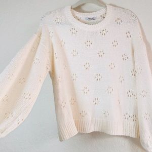 NWT Madewell Pointelle Floral Ivory Sweater. S